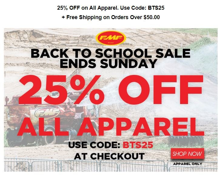 Coupons for Stores Related to dirtbikebitz.com